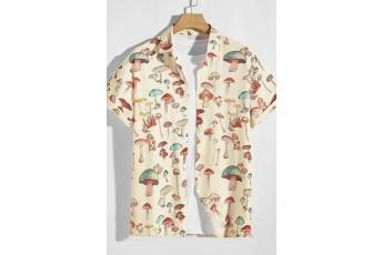 Men's Mushroom Print Button Up Shirt