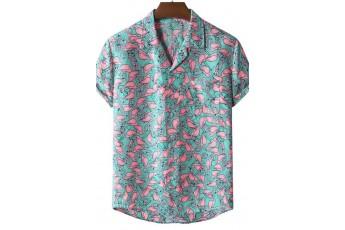 Stylish Flamingo Print Short Sleeve Men Shirt