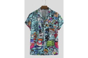 Multicolor Graphic Printed Short Sleeve Men Shirt