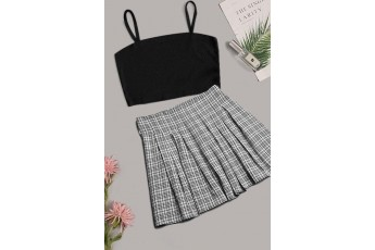 Set of 2 Black Crop Top with Plaid Skirt