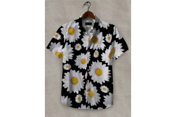 White Flowers Black printed men shirt