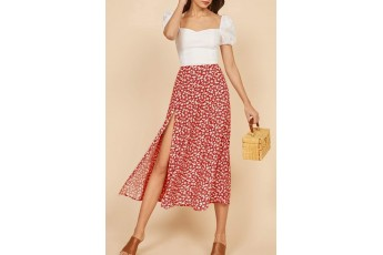 Set of 2 - Cute puff sleeve top and slit skirt