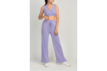Set of 2- lilac vibe crop top & trouser