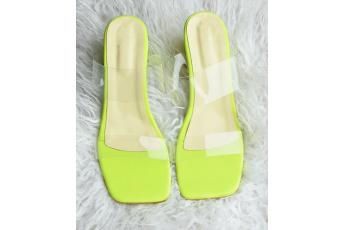 Neon trend block heels