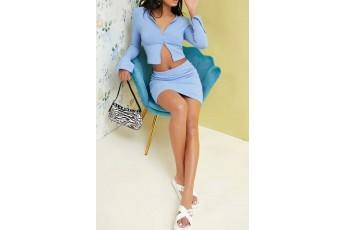 Zip Up Split Sleeve Rib-knit Top & Skirt Set