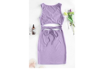 Ribbed Cutout Straps Bodycon Tank Dress - Orchid Bloom