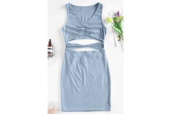 Ribbed Cutout Straps Bodycon Tank Dress -Dusty Blue