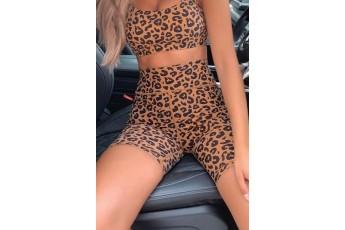 Set of 2- cheetah print top with biker shorts