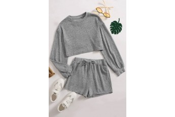 Set of 2 Full sleeve grey top with shorts