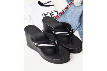 Black casuals on wedge