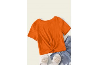Simply stylish orange rib top