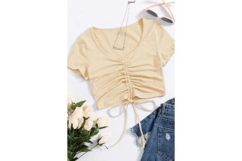 Solid Drawstring Ruched Crop Top - Sand