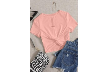 Simple stylish peach crop top