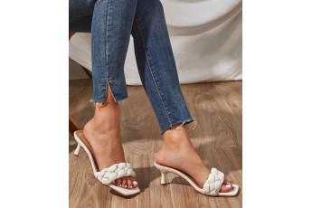 Quilted braid white heels