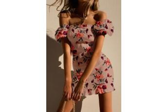 Off shoulder floral smoking dress