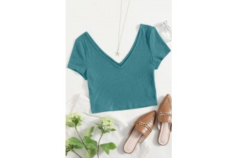 Double V-Neck Rib-knit Top - Turquoise Blue