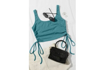 Drawstring Sleeveless Crop Top - Turquoise Blue