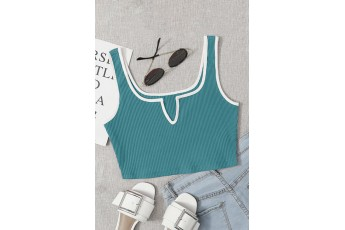 Turquoise blue sleeveless rib crop top