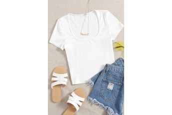 White rib-knit fitted tee
