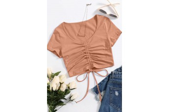 Solid Drawstring Ruched Crop Top - Dusty Coral