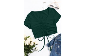 Solid Drawstring Ruched Crop Top - Bottle Green