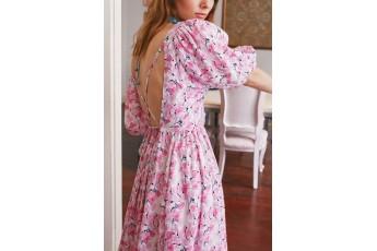 Stylish Back Pink Floral Long Dress