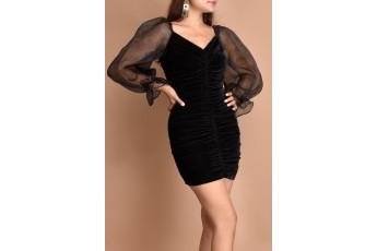 Camellia black velvet dress