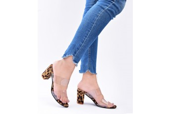 Leopard pattern transparent heels