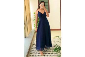 V neck sleeveless long navy dress