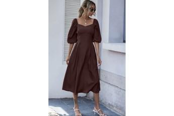 Balloon sleeve long dress - Coffee brown