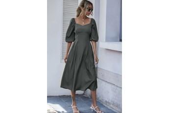 Balloon sleeve long dress - Dark grey