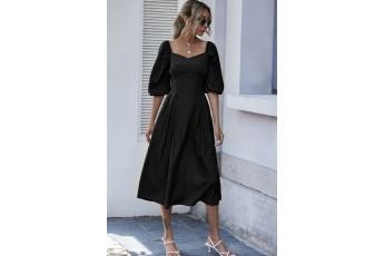Balloon sleeve long dress - Black
