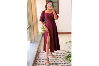 Perfect date side slit long dress - Marsala