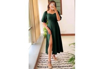 Perfect date side slit long dress - Bottle Green