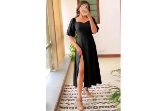 Perfect date side slit long dress - Black