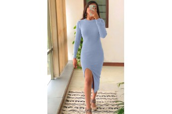 Side slit full sleeve blue dress