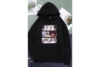 Anime print in black hoodie