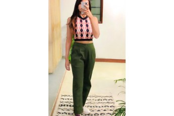 Set of 2 Argyle top with sap green trouser