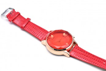 Womens - Red strap round dial watch