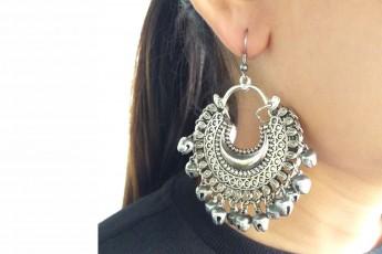 Crescent hoop earring