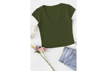 Cap Sleeve Crop Green T-shirt